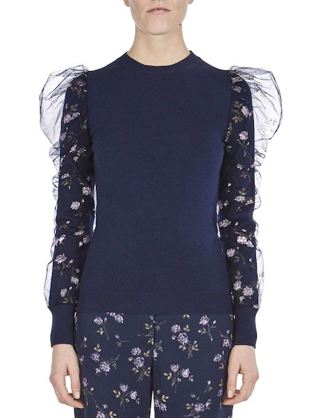 Sweater in wool and tulle - blue