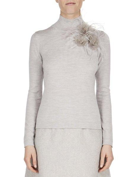 Pullover mit applizierten Federn und Rosen - Grau