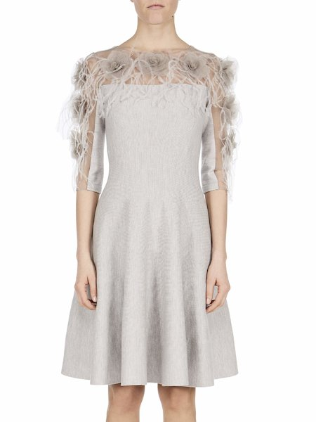 Knit dress with feathers and roses