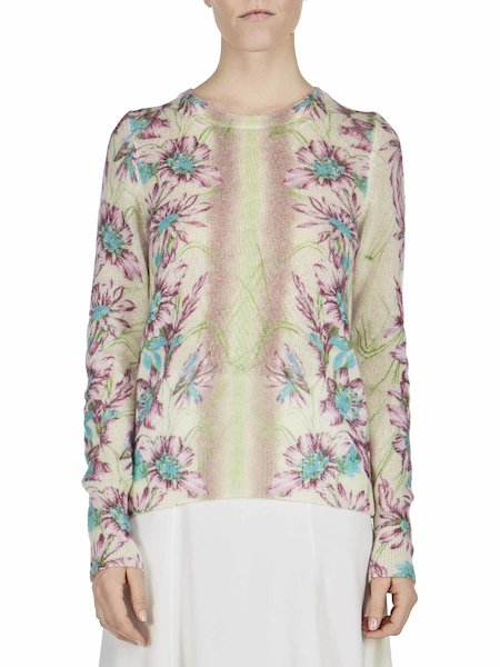 Sweater with floral print - white
