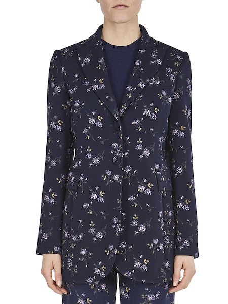 Jacket with print featuring dainty micro-roses - blue