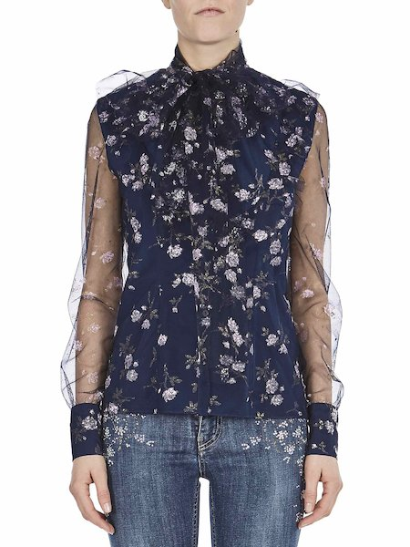Shirt with print featuring micro-roses