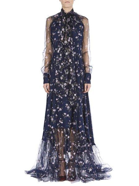Long print dress featuring micro-roses