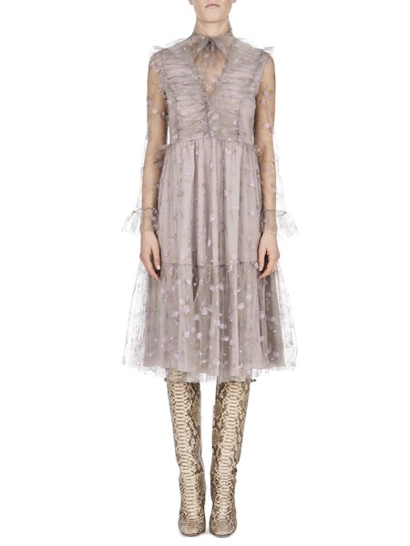Dress in printed tulle featuring micro-roses - white