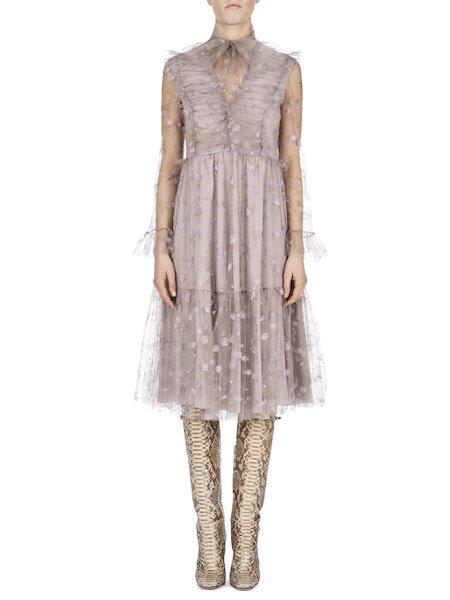 Платье из тюля с принтом маленьких роз