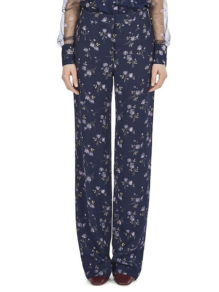 Trousers with micro-rose print