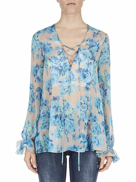 Silk blouse with rose print