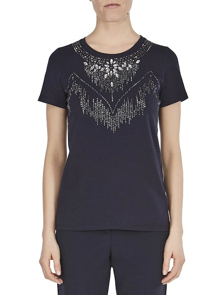 T-shirt in jersey with rhinestones - blue