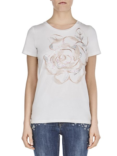 T-shirt in jersey with rose embroidery - white