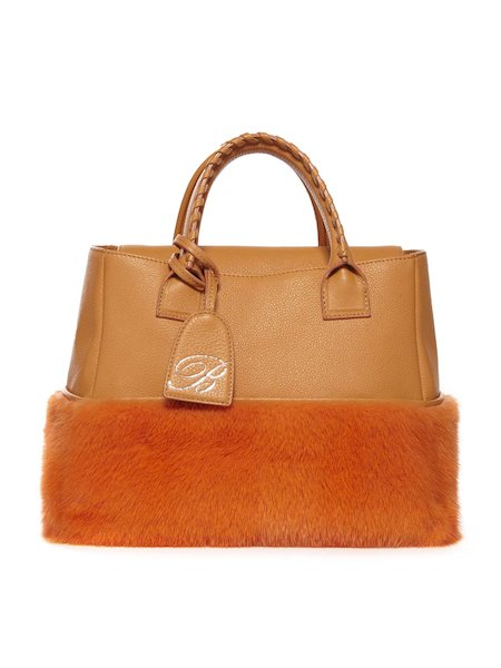 Bag with handles in leather and mink