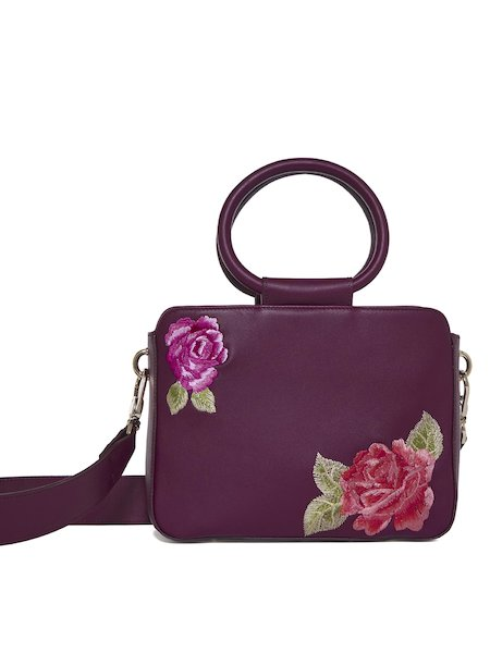 Odette handbag with roses - red