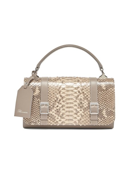 Handbag in leather and snakeskin