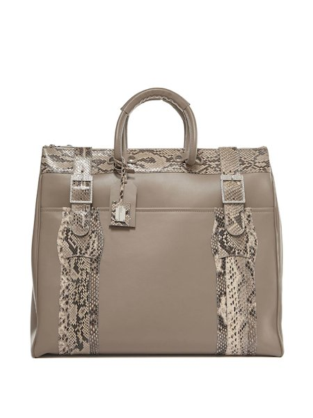 Maxi-handbag in leather and snakeskin - Brown