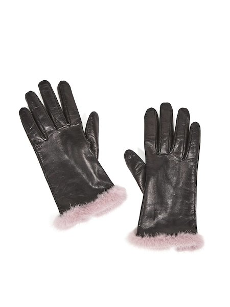 Leather gloves trimmed in mink - Black