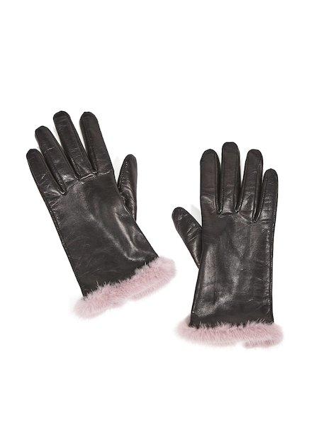 Кожаные перчатки с норковыми манжетами