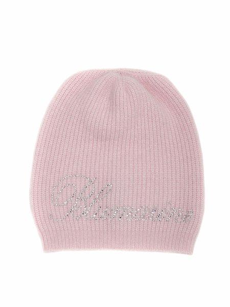Knit hat with rhinestone logo