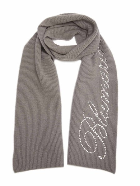 Scarf with rhinestone logo