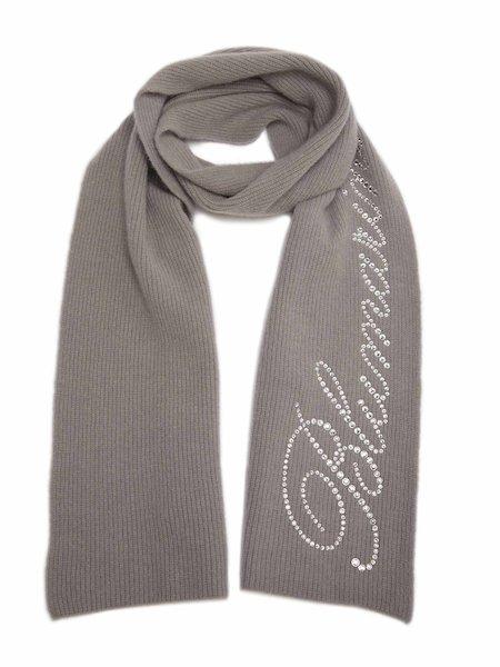 Schal mit Strass-Logo - Grau