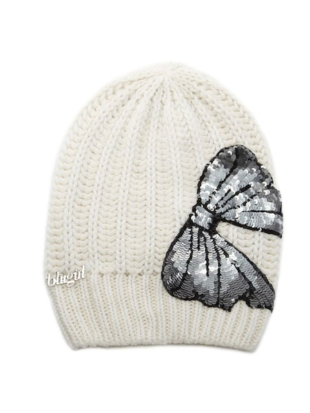 Knit beret with bow