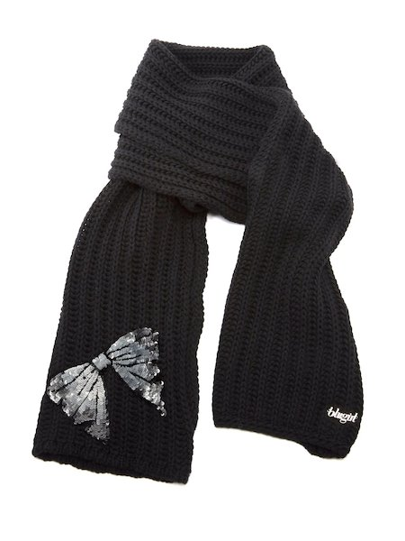 Knit scarf with bow - Black