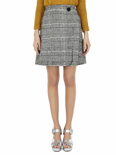 Glen Plaid wrap around skirt - Black