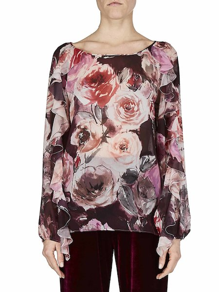 Blouse with rose print and flounces - red