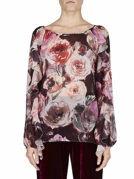 Blusa con estampado de rosas con volantes