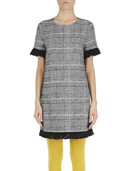 Glencheck-Kleid mit Borten - Schwarz