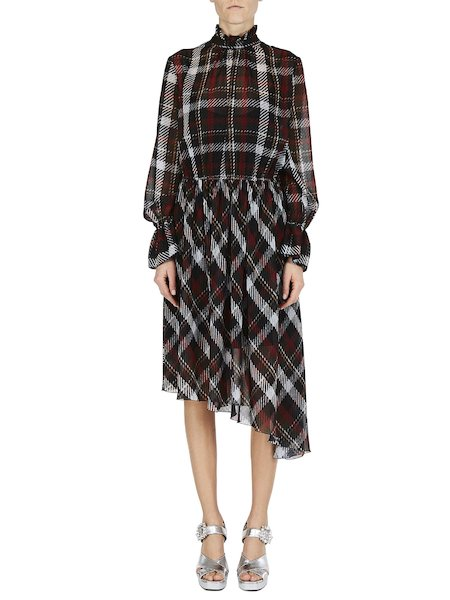 Tartan dress asymmetrical with ruffles - Black