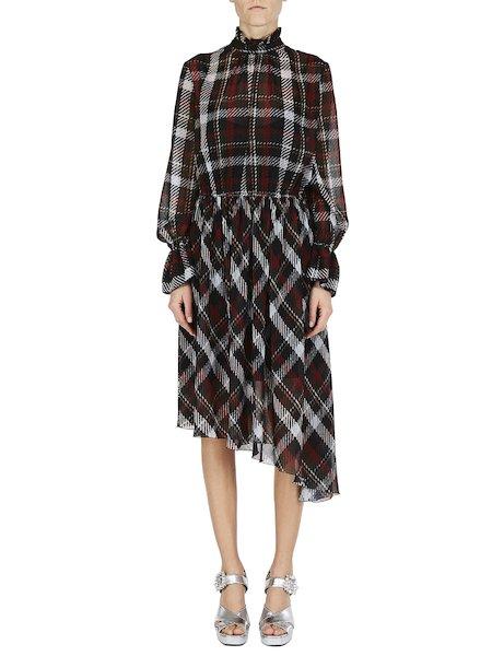 Asymmetrisches Kleid im Schottenkaro mit Rüschen