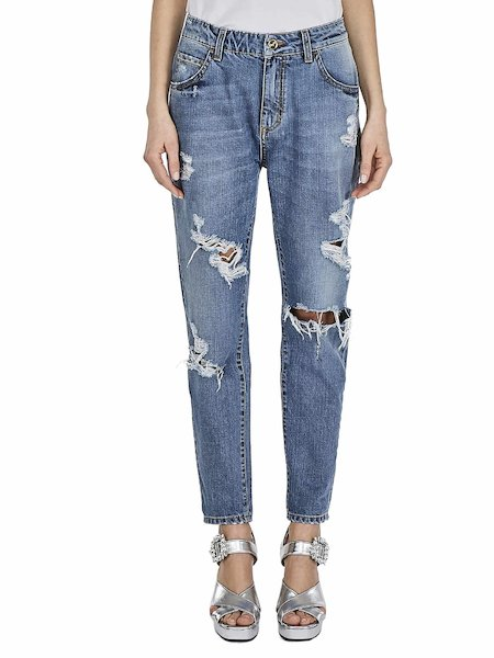 Jeans boyfriend destroyed - bleu