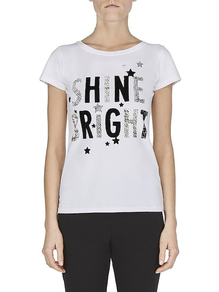 T-shirt with print and studs - white