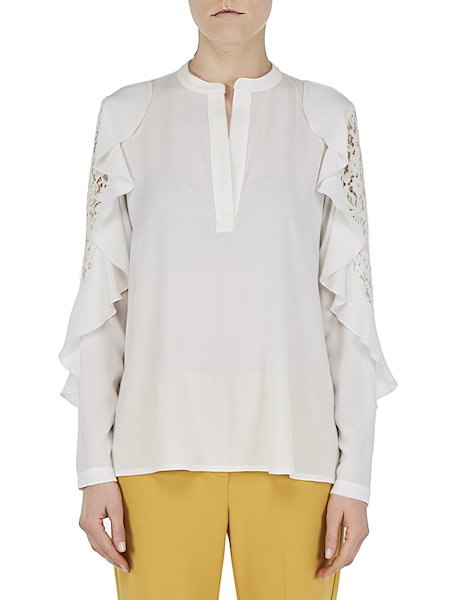 Blouse with flounces and lace - white