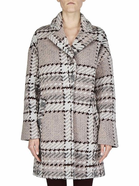 Tartan overcoat with embroidery - pink