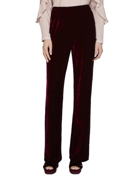 Pantalon large en velours - rouge