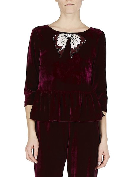 Blouse in velvet with bow application - red