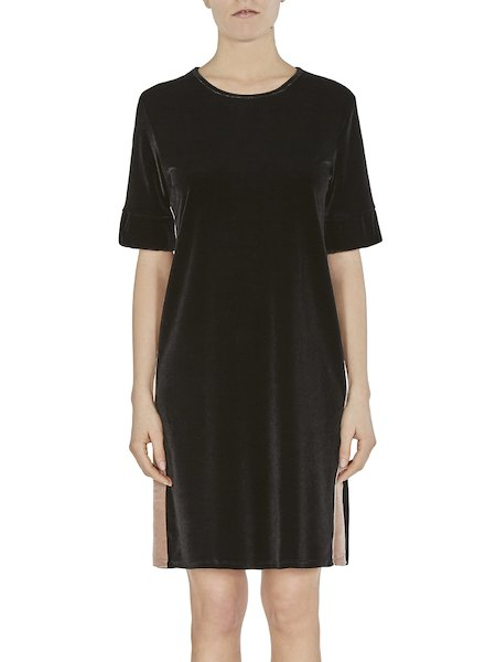 Dress in velvet with lateral band - Black