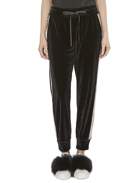 Trousers in velvet with lateral bands