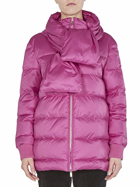 Down-filled jacket with removable scarf - pink