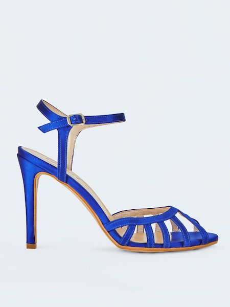 Laminated sandals with little strap - blue