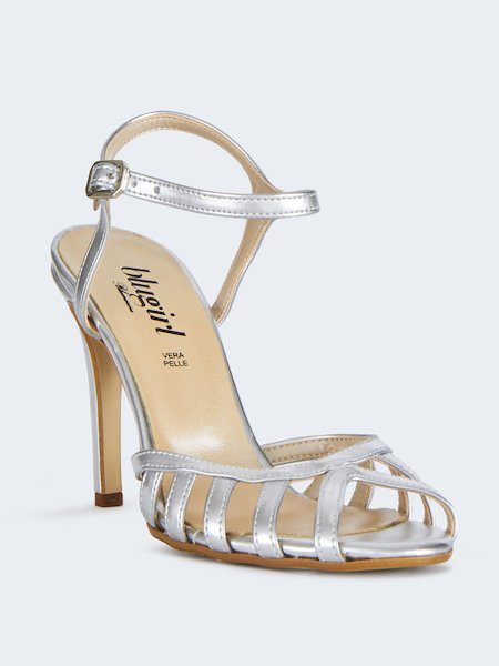 9a623f1f455 ... Metallized sandals with ankle strap - Grey - 2