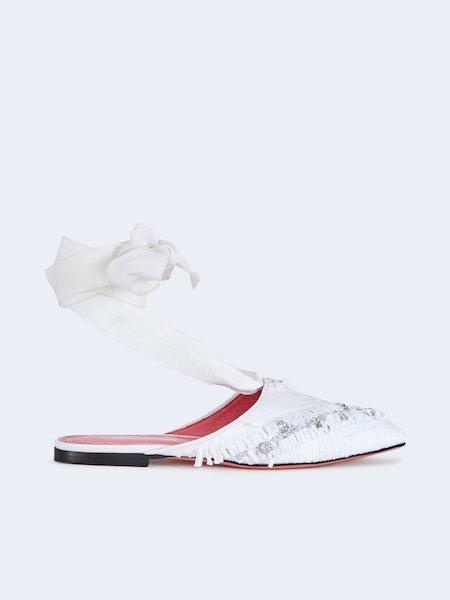 Flache Sandalen mit Ripsband - Weiss