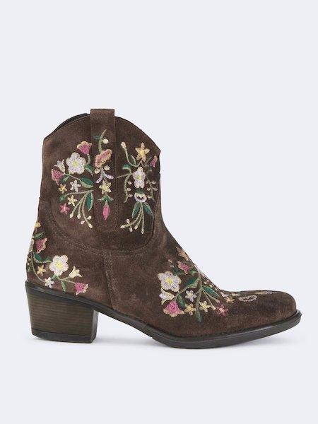Cowboystiefeletten aus Wildleder mit Stickerei - Brown