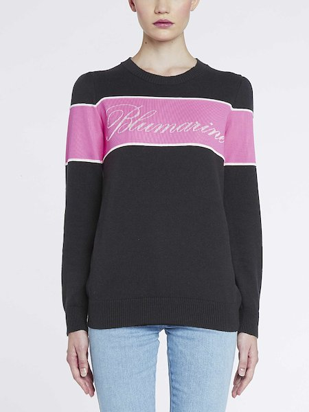 Sweater with inset and logo - Black