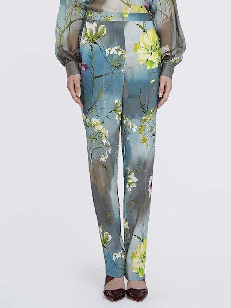 Pantalon cigarette de tailleur imprimé à fleurs