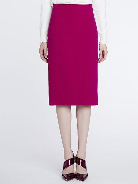 Sheath skirt with slit in the back - fuchsia