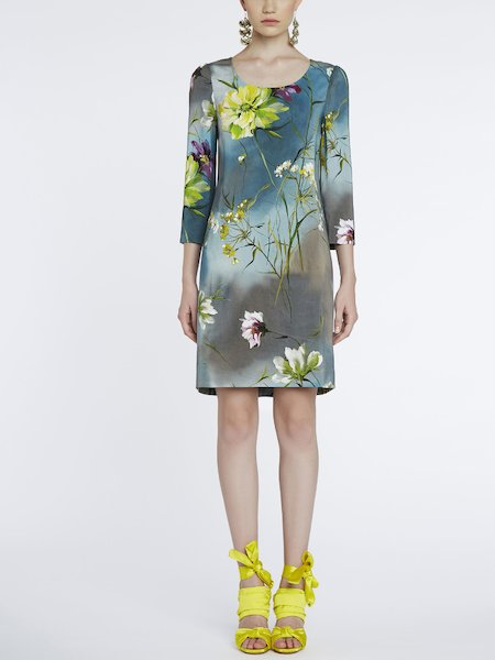 Kleid mit Blumenprint - Grau