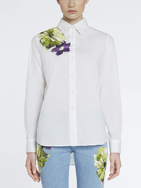 Shirt with embroidery and sequins - white