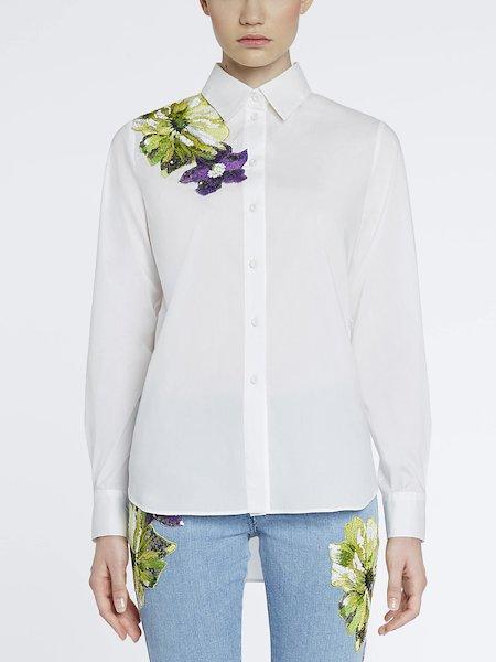 Camisa con bordado y lentejuelas - Blanco