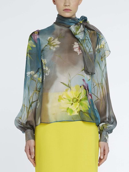 Floral-print blouse with bow
